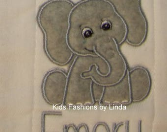 Personalized  Elephant Fully Lined Burp Cloth