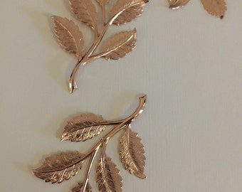 SMALL Rose Gold- Spring Beauty Frond Leaf  (2 pc)