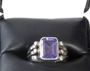 Vintage Square Amethyst and Sterling Silver Ring, Size 7