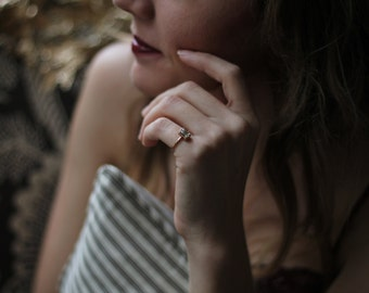 Moissanite Engagement Ring, 14 Karat Rose Gold Engagement Ring, Art Deco Ring, Emerald Cut Ring, Diamond Alternative Engagement Ring.