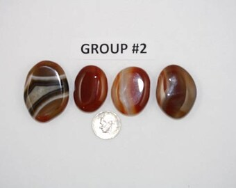 Polished Carnelian Agate Freeform Cabochons Pack of 4 - Group #2