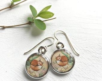 Woodland Animal, Red Fox Jewelry, Fox Earrings, Jewelry made from Original Art, Animal Earrings, Art Jewelry