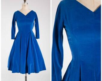 Vintage 1950s Dress • Always Right • Bright Blue Velvet 50s Party Dress Size Medium