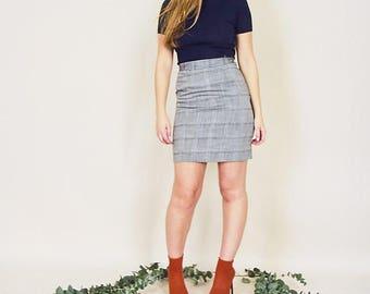 Vintage Grey Textured Pencil Skirt