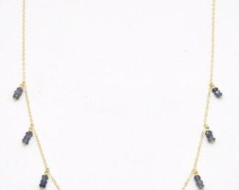 Iolite Third Eye Chakra Necklace - 14K Gold Filled, Fine Bohemian Jewelry, Layering Layer Boho, Gemstone, Healing Crystal Handmade Fancy Big