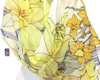 Spring Wedding Shawl, Bridal Chiffon Shawl, oversized wrap scarf, Handpainted Scarf, ETSY, Yellow Daffodil Wrap Shawl, Takuyo, 22x90 inches.