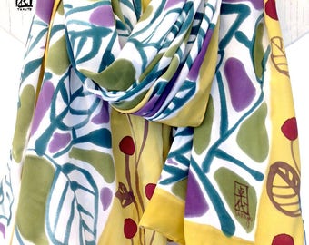 Silk Scarf Handpainted, Large Ladies Wrap Shawl, Japanese Floral Vine Silk Wrap, Mustard, Olive Green, Purple Gray, Silk Crepe, 44x72 inch