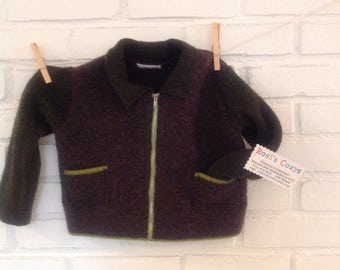 Boy's sweater jacket, upcycled sweater, brown and green boiled wool, warm toddler baby jacket, baby boy clothing