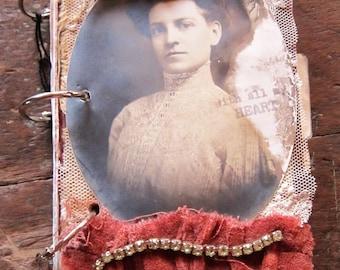 Journal/Mixed Media Journal/Book/Handmade Book/Mixed Media/Vintage textiles/Vintage Photo/OOAK/Photo Album/OOAK Journal/Victorian