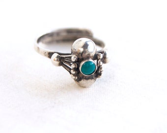 Adjustable Turquoise Ring Vintage Mexican Size 7 Sterling Silver Colonial Mexico Style Jewelry