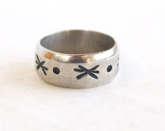 Star Ring Size 9 Wide Band Vintage Mexican Stars and Planets Sterling Silver Unisex Jewelry Astronomy Heavy Band