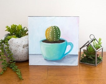 Succulent Painting, Vintage Coffee Mug Painting, 6x6 Oil Painting, Teal Coffee Cup, Succulent Art, Small Painting, Gifts Under 50