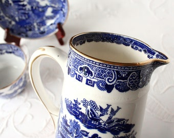 Blue Willow, Crown Staffordshire, English pitcher, porcelain pitcher