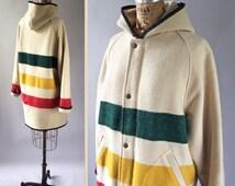 Vintage Woolrich Hudson Bay Blanket Style Long Duffle Coat Wool Hooded Zip Trench