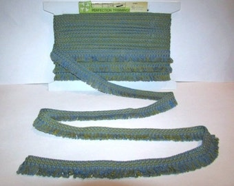 """Vintage Blue and Green Short Fringe Sewing Trim, 12 yds x 1"""", Perfection Trimmings, 1980s Sewing & Craft Supply"""