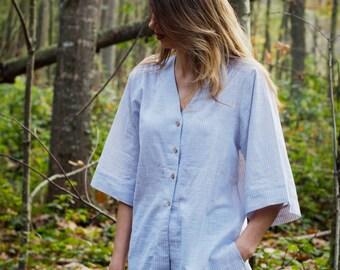 Sleepwear Long Shirt and Pyjama Shorts >> Grey and Indigo Blue