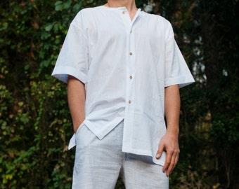 Sleepwear White Shirt and Grey Pajama Shorts for Men