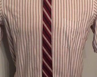 Vintage MENS burgundy, black & white diagonal striped skinny tie, circa 50s-60s