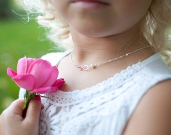 Child infinity necklace with pearl, Flower girl gift, Flower girl jewelry, Otis B, sterling silver child necklace