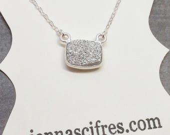 Silver Druzy Necklace - Sterling Silver Titanium Druzy Gemstone - Druzy Jewelry - Sterling Silver Druzy Pendant - Druzy Quartz - Drusy Stone