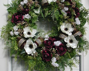 Front Door Wreath Elegant Summer Silk Floral Decoration Spring Luxe Premium Design White Poppies Burgundy Roses Black White Checked Ribbon