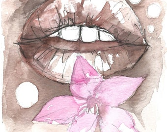 Tribal, No. 253, Original Artwork, Artblock, Acrylic painting, Gift Ideas, Lips Series, lips, Brown and Pink, Decor, Decoration