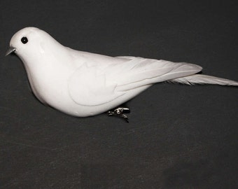 12 Pc 6 Inch Craft Dove with Metal Clip (Darci) - NEW ITEM!!, Wedding Doves, Easter Doves, Dove Accents