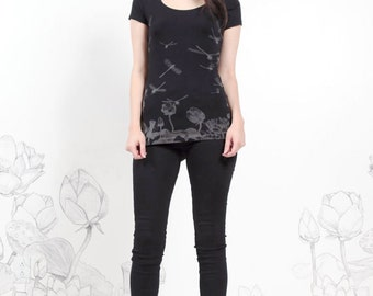SALE - Dragonfly Tee - womens shirts, black printed tshirt, screenprinted tee, dragonflies