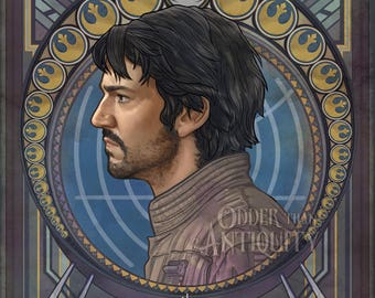 Cassian Jeron Andor Star Wars Rogue One Diego Luna Rebel May the Fourth Illustration Portrait Poster Print - 4 Sizes Available