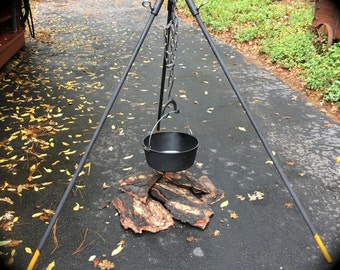 Tripod Campfire Stand, cook in pot hanging over fire, extra heavy duty, wide stance, MADE to ORDER