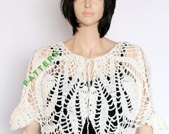 Crochet Shawlette Pattern Shoulder Shawl Pattern Pattern PDF Lace Shawlette Shoulder Cover Pattern, Cape pattern, Caplet pattern
