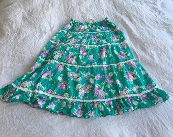 "Vintage Floral Cotton Skirt, Green, Purple, Summer, Bohemian, 70s, Hippie, Garden, Romantic, Retro, Shabby Chic, Small ,Medium, 26"" Waist"
