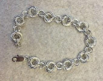 Silver Chainmail  Rosette Bracelet