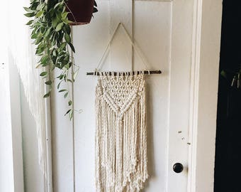 Handmade Macrame Wall Hanging Layered Macrame Fiber Art Boho Wall Bohemian Decor Cotton Weaving