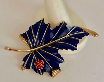 Trifari BLUE Enamel LEAF & Lady Bug PIN Brooch Ladybug