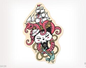 Cat under the sea Black Cat Sticker octopus ship anchor Black Kitty Ganbatte Black Cats Sticker