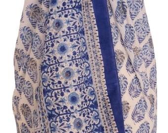 Hand Block Printed Sarong - Marigold buti white