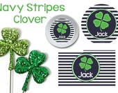 Navy Stripes St. Patrick's Day Plate/Bowl/Placemat . Shamrock Plate . Shamrock Placemat . Boys Plate . Boys Placemat