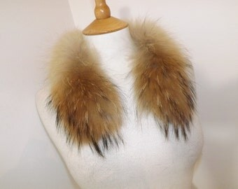Vintage real ginger red beige real raccoon or fox fur collar small size