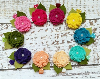 Toddler Hair Clips,Pick Your Own Color,Baby Toddler Girls Hair Clips,Felt Hair Bows,Felt Flower Clips,Hair Clip Set,Pink Peach Mint Yellow