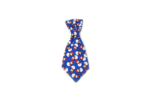 Holiday Christmas Blue Snowman Dog Tie