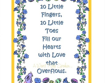 "CLEARANCE 8x10 FUSIBLE Nursery Applique ""10 Little Fingers"" Poem, Iron-on Baby Art Fabric Applique, Baby Shower Gift, Nursery Pillow Quilt"