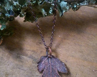 Real Fig Leaf & Solid Copper Necklace