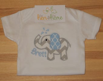 Elephant personalized baby gift name initials choose colors kid child present birthday customized embroidery applique monogram custom made