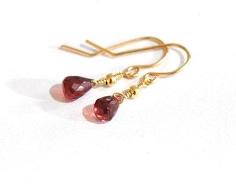 Tiny Garnet Earrings, Janruary Birthstone earrings,  Bridesmaid Gift,  Minimum jewelry, minimalist, everyday Jewelry, Gift For Her