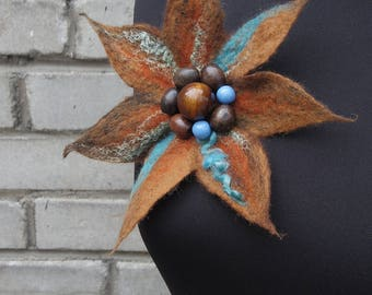 "Pretty Betty"", brown and turquoise wet felted flower brooch, one-of-a-kind unique woolen accessory"