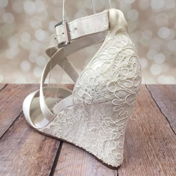 Ivory Wedding Shoes Lace Wedding Wedges Ivory Lace Wedges Lace