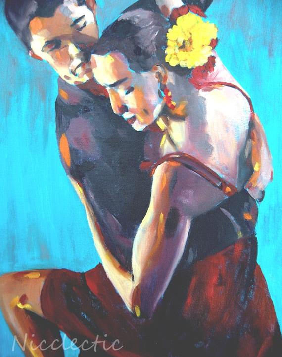 Salsa dancers, intimate couple, seductive dance, art print, salsa dress, passionate dancing couple complimentary colors, tango