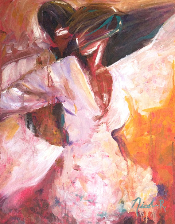 Romantic art, impressionistic, dancing passion print, couple dancing, intimate couple, romance, lust, love, salsa, dancers gift ideas