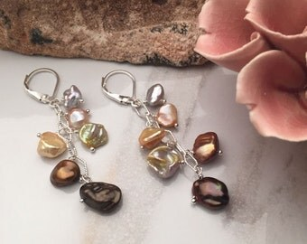 Multi-color Keishi Pearls - Sterling Silver Earrings - 5451